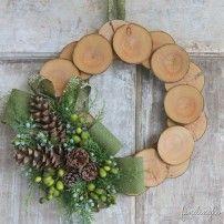wood slice and burlap wreath
