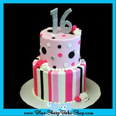 Pink, Black, and White Sweet 16 Cake