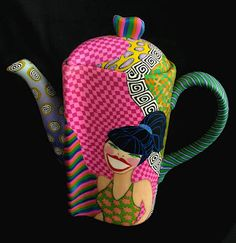 Retrolady teapot (other side) by Wanda Shum