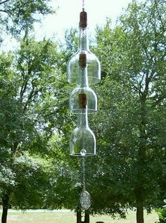 Clear Wind Chime from wine bottles