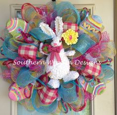 Easter Bunny with Colorful Easter Eggs by SouthernWreathDesign