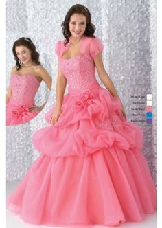 Organza Coral Quinceañera Dress Sweet Sixteen Dress. Layered Quinceañera gown, with beading work accented bodice, flower bouquet in the waist.  Layered skirt features billowy bustles and flowing hem. Gorgeous dress for Quinceañera, Sweet Sixteen, Sweet 15 16 events.