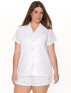 Button-down PJ shirt remakes menswear inspiration into a feminine favorite with cool woven construction and a charming Swiss dot motif. Finished with short sleeves and a single chest pocket. #LaneBryant #Cacique