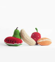 Knit Fruit Baby Rattles | Organic Baby Toys | Cheengoo - Brimful Toys