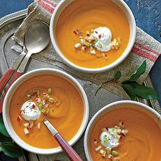 Carrot-Apple Soup  | The smart technique for this simple soup eliminates the need for sautéing the vegetables, which preserves the bright color and flavor of the carrots and results in a brighter, more refreshing soup.