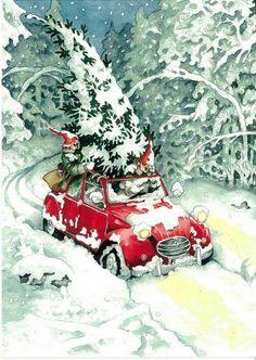 christmas cards, christmas fun, ing löök, art, christma tree
