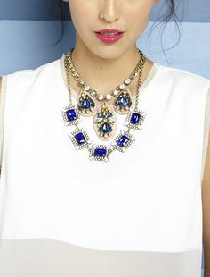 Cobalt Blue Square Statement Necklace