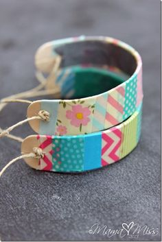 DIY: Washi Tape Wooden Bracelets #washitape #diy #bracelet Cute idea for a kid's craft!