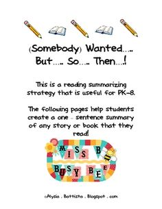 This is a reading summarizing strategy that is useful for PK-8. The free pages help students create a one – sentence summary of any story or book... #summarize #summarize text #summarize story #summarize-text #summarize-story #summarizing strategies #summarizing-strategies #retell #retell story #retell-story #retell-strategies