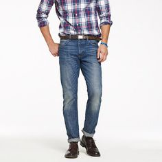 Slim-straight selvedge jean in medium worn wash/