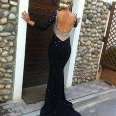 long sleeve low back formal dress | dress prom long sleeves low cut back blackdress prom dress beaded ... long dresses, hot dress, style, bridesmaid dresses, evening gowns, black white, red roses, new fashion, long prom dresses
