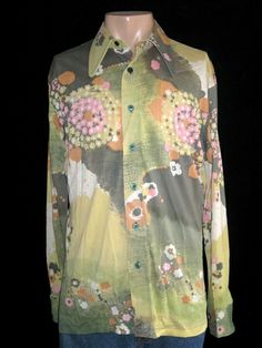 Mens Vintage 1960's Sage Green Abstract Floral Silky Rayon Shirt By Essley 46   - Mens Vintage Shirts