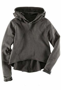 Dark Grey Hooded Long Sleeve Crop Sweatshirt