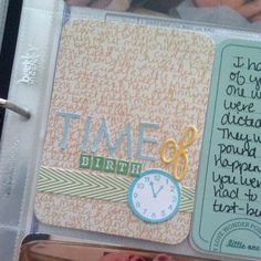 nifty way to record Time of Birth in your pocket scrapbook.