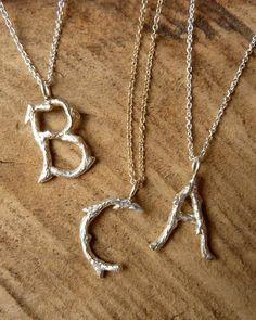 monogram pendant, rustic charm, branch pendant, silver monogram, necklac
