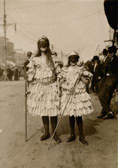 Children wearing Mardi Gras costumes in New Orleans, Louisiana, ca. 1910s