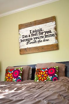 Johnny Cash art quotes above the bed, new houses, johnny cash decor, cash art, above bed art, johnni cash, master bedrooms, quotes above bed, black art