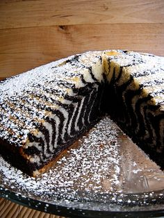 Zebra Cake much easier than it looks any choc. cake and vanilla cake will work