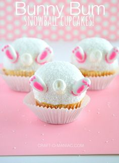 "Cute ""Bunny Bum Snowball Cupcakes!"" #eastersweets #eastercupcakes"