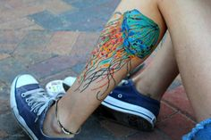 Jellyfish tattoo. The colors are so great.
