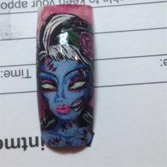 Zombie girl -- Halloween nail art by AngieVo - Nail Art Gallery nailartgallery.nailsmag.com by Nails Magazine www.nailsmag.com #nailart