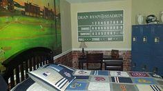"HUGE Personalized Baseball Scoreboard 40"" x 60"" Wrapped Canvas - #SignsByAndrea #baseball #customscoreboard #baseballroom #sports #customcanvas"