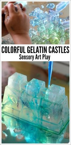 play castle, kids learning, ice castles, bright colors, colorful gelatin castle