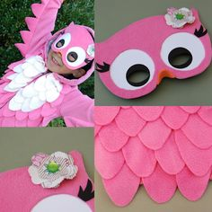 "owl Halloween costume tutorial|  Here's ""hooo"" to turn a simple hoodie into an owl Halloween costume. For this project, you'll need a pink hoodie (purchased at H), pink and cream fleece (felt will work too), white glue, package of black and orange foam masks (purchased at Jo-Ann Fabrics and Crafts), one sheet of regular copier paper, one sheet of white cardstock, and a rosette."