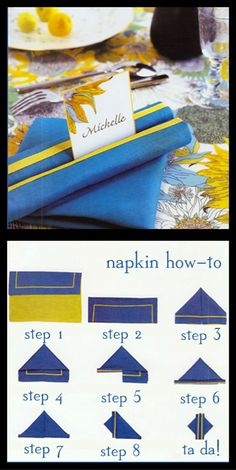 Napkin folding technique - you can even pop a name place card in between the rolls, from Heidi D