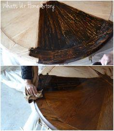 How to stain wood furniture, Minwax dark walnut stain www.whatsurhomestory.com