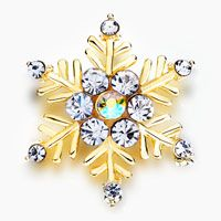 Pugster April Birthstone Fine Snowflake Golden Plated Floral Brooch