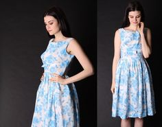 50s Party Dress   Blue Rose  Dress   1950s Dress  50s by aiseirigh, $128.00