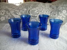 1930s 5 COBALT BLUE DEPRESSION GLASS JUICE GLASS TUMBLERS with WHEAT PATTERN