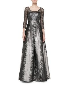 Long-Sleeve Beaded Lace-Bodice Gown by Kay Unger New York at Neiman Marcus.