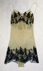 """Light-colored silk """"camiknickers"""" (teddy) with sihouettes of dancing figures by Hermine, circa 1920s."""