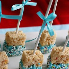 mini rice crispies dipped in white chocolate that can be dyed to match a color theme :) (lose the cake pop sticks though)