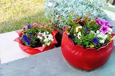 flower containers, diy ideas, flower planters, old tires, diy tutorial, garden art, recycled tires, flower pots, tire planters