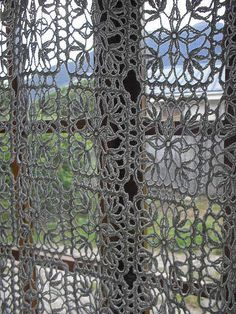 crocheted lace curtain