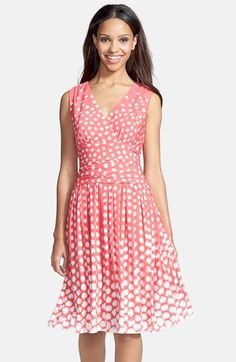 Eliza J Dot Print Jersey Fit & Flare Dress (Regular & Petite) available at #Nordstrom