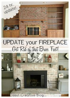 Fireplace makeover including painted mantel and shelves, white washed brick and spray painted brass surround