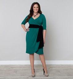 Harlow Faux Wrap Dressy Cocktail Dress, Jade (Womens Plus Size)