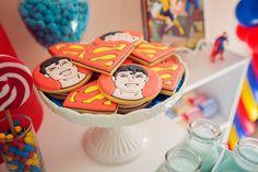 boy's Superman party cookies www.spaceshipsandlaserbeams.com
