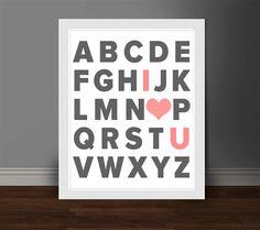 ABC I Love You Nursery Print Typography by TheYellyBeansDesigns, $12.00