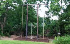 climbing rope in the backyard