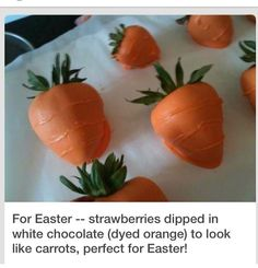 carrot, chocolate covered strawberries, chocolate strawberries, food, white chocolate, easter strawberri, cover strawberri, easter treats, easter ideas