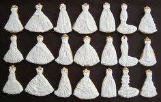 wedding dress cookies! these would be perfect for a bridal shower or something