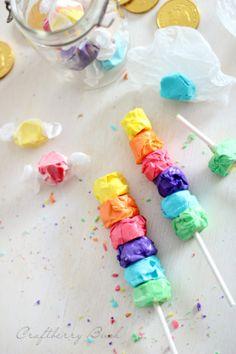 Salt water taffy rainbow kabob
