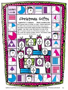 Christmas math board game from Christmas Math Games Third Grade by Games 4 Learning for bringing some fun, Christmas math into the classroom. This collection of Christmas math games contains 14 printable games $