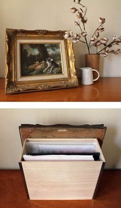 diy file behind picture frame