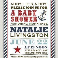 Nautical baby announcement style.